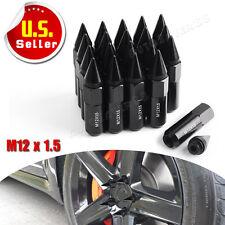 20 Black Extended Tuner Spike Lug Nuts 12X1.5 Aluminum fits Honda Acura Toyota