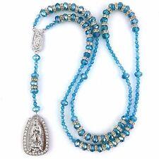 Turquesa Virgen María Nuestra Señora de Guadalupe Cristal Rhinestone Rosario