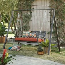 2 Piece Rust Color Metal Patio Swing and Stand Set Outdoor Home Furniture Deck