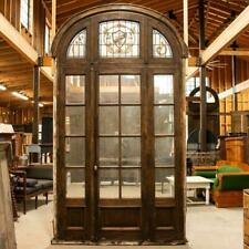 Antique Tall Glass French Doors With Stained Glass Arched Transom With Fleur De