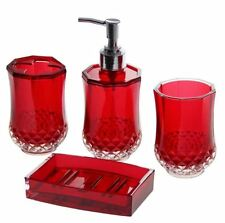 4 Piece Bathroom Accessory  Soap Dispenser, Dish, Toothbrush Holder Bath Set