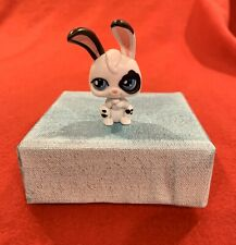 Littlest Pet Shop LPS White Bunny With Black Spots Moving Blue Eyes Hasbro 2006