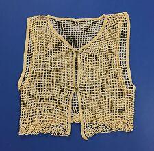 Top maglia mare smanicato uncinetto donna beige quadri vintage trasparente T1858