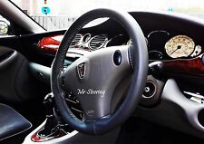 FOR ROVER 75 98-05 REAL BLACK ITALIAN LEATHER STEERING WHEEL COVER GREY STITCH