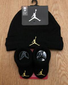 Air Jordan Baby Boy Infant Hat & Booties Set ~ Black & Gold ~ 0-6M ~