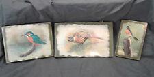 3 Lot Basil Ede Bird Pheasant Print on Wood Block Decoupage Wall Hanging VTG