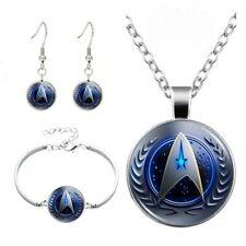 Star Trek Glass Cabochon Necklace & Earrings & Bangle Bracelet Jewelry Set