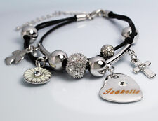 Genuine Braided Leather Charm Bracelet With Name - ISABELLE - Gifts for her