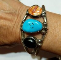 Vintage Navajo Robert Chee Sterling Silver 3 Gem Cuff Bracelet