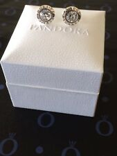 Genuine Silver925 Pandora Radiant Logo Stud Earrings