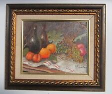 Original Oil Painting Still life Study of Fruits And Wine By A Napalitano