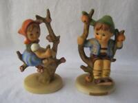M I Hummel Goebel Set APPLE TREE BOY GIRL Porcelain Figurine Germany 141 142