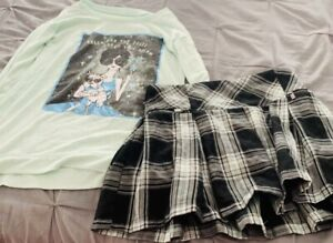Preowbed Girls Justice Shirt With Matching Skort Sz 12-14