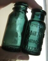Two Different Teal Green Bromo Seltzer Medicine Bottles