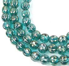 50 Czech Glass Melon Round Beads 5mm - Luster Iris - Atlantis Blue