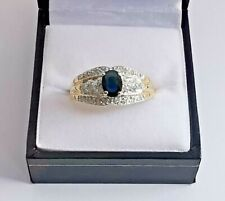 Blue SAPPHIRE & DIAMOND CLUSTER RING 14ct 585 yellow gold white gold top