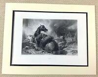 Edwin Landseer Antique Engraving Print War Horse Cavalry Officer Painting 1880