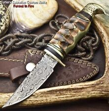 Rare Hand Made Damascus Steel Blade Hunting Knife   Jigged Camel Bone