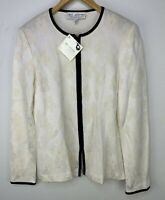 ST. JOHN Collection Bright White Floral Wool Blend Knit Jacket Sz 6 NWT $785
