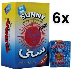 6 Boxes Of Sunny Royal Sweet Supari 48 Sachets Per Box (Sweet Betal Nuts)