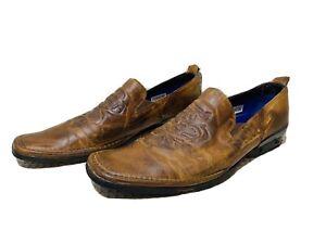 Mark Nason Men's Loafers Leather Distressed ROCK NEVER DIES Slip On Sz 9.5