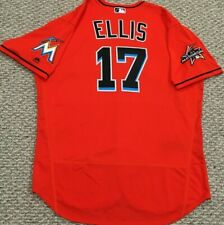 A. J. ELLIS size 50 #17 2017 GAME USED Miami Marlins jersey ALT ORANGE  MLB HOLO