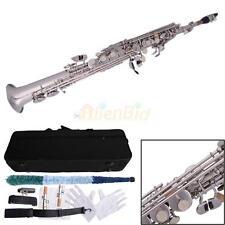 MBAT Professional Student Silver Bb Soprano Straight Saxophone Brass B Flat Sax