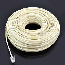 100 feet RJ11 6P4C Modular Telephone Extension Cable Phone Cord Line Wire Beige