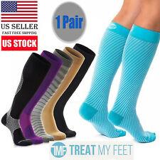 Blue 1 Pair Compression Socks Knee High Stockings Calf Sleeve Leg Support Brace
