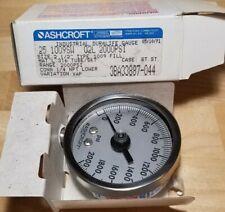 "Ashcroft 2-1/2"" Type 1009 Duralife Pressure Gauge 0-2000 PSI 1/4"" NPT Lower"