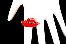 Red Hat Purple Crystals Enamel Adjustable Ring For Society Ladies