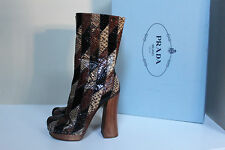 New sz 9.5 / 39.5 Prada Runnway Brown Leather Genuine Python Boot Womens Shoes