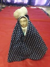 """Early Cloth Primitive Doll With Baby 8.5"""" Tall Circa 1900"""