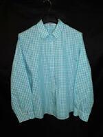 Foxcroft Size 18 Shaped Fit Blue White Gingham Plaid Shirt Long Sleeve Cotton 18
