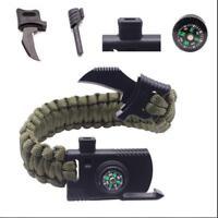 Survival Bracelet Paracord Knife Whistle Magnesium Fire Starter Compass Kits H02