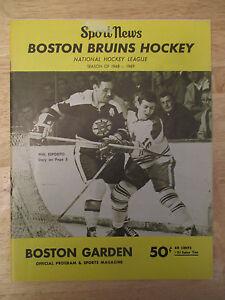 Boston 1968 BRUINS Program v NEW YORK RANGERS Bobby Orr TED GREEN Phil Esposito