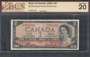 1954 DEVIL'S FACE $2.00 BC-30a BCS VF-20 * SCARCE QEII Canada 1st DF Two Dollars