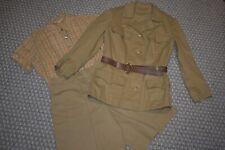 Vintage 1970s Military Safari Style Jacket Culotte Camp Shirt Set for Ladies