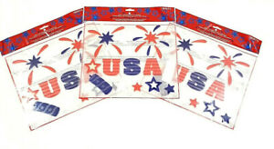 "(Lot of 3) Patriotic USA Starburst Window Clings Lot 11.5"" x 10"""