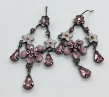 Vintage Earrings Flower Rhinestone Dangle Pink