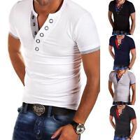 Men's Tee Shirt Slim Fit V Neck Short Sleeve Casual Muscle Tops Plain T-Shirts
