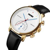 SKMEI Men's Leather Band Big Face Thin Dial Casual Waterproof Quartz Wrist Watch