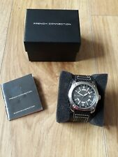 Boxed new Men FCUK watch black chunky leather strap brushed chrome 55.99p free p