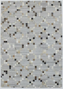 Grey New Contemporary Handcrafted 4X6 Cowhide Patchwork Oriental Area Rug Carpet