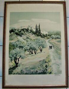 *3142*  authentique litographie  victor zarou (1930) paysage provençale