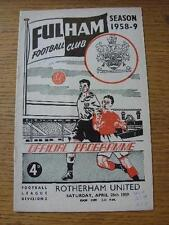 25/04/1959 Fulham v Rotherham United  (Light Crease, Score & Notes Made On Cover