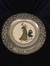 KATE GREENWAY COLLECTOR PLATE IN WILTON ARMETALE FRAME WOMAN W CHILDREN IN RAIN