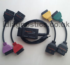 Fiat Alfa ELM 327 v1.4 OBD2 Green Red Yellow cables for MULTIECUSCAN FIATECUSCAN