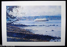 16 Puget Sound Ferry Olympic Mountains Blank Greeting Note Card Marshall Johnson
