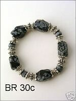 Silver with Natural Stone Beaded Bracelet